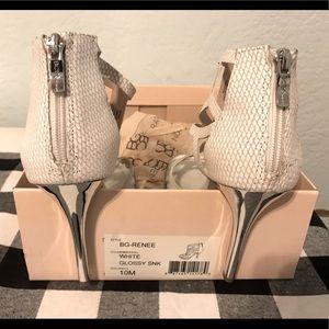 BCBG White Snakeskin Heeled Sandals